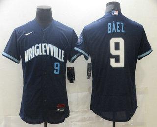 Men's Chicago Cubs #9 Javier Baez Navy Blue 2021 City Connect Stitched MLB Flex Base Nike Jersey