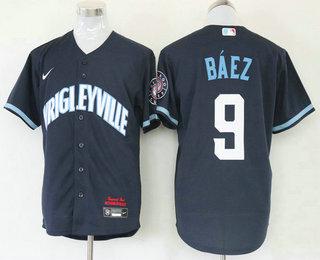 Men's Chicago Cubs #9 Javier Baez Navy Blue 2021 City Connect Stitched MLB Cool Base Nike Jersey