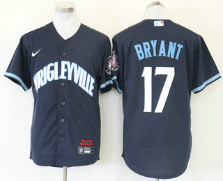 Men's Chicago Cubs #17 Kris Bryant Navy Blue 2021 City Connect Stitched MLB Cool Base Nike Jersey