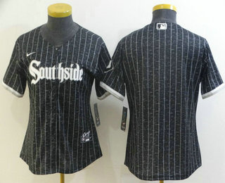 Women's Chicago White Sox Blank Black 2021 City Connect Stitched MLB Cool Base Nike Jersey
