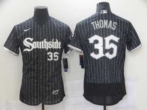 Men's Chicago White Sox #35 Frank Thomas Black 2021 City Connect Stitched MLB Flex Base Nike Jersey