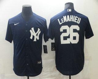 Men's New York Yankees #26 DJ LeMahieu Navy Blue White Number Stitched MLB Cool Base Nike Jersey