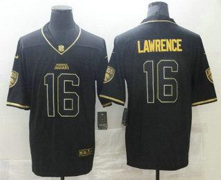 Men's Jacksonville Jaguars #16 Trevor Lawrence Black Golden Edition Stitched NFL Nike Limited Jersey