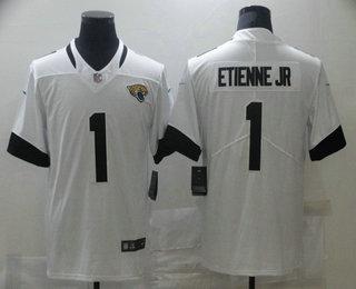 Men's Jacksonville Jaguars #1 Travis Etienne Jr White 2021 Vapor Untouchable Stitched NFL Nike Limited Jersey