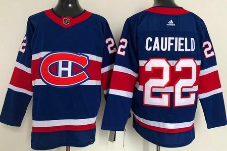 Men's Montreal Canadiens #22 Cole Caufield Blue 2021 Reverse Retro Stitched NHL Jersey