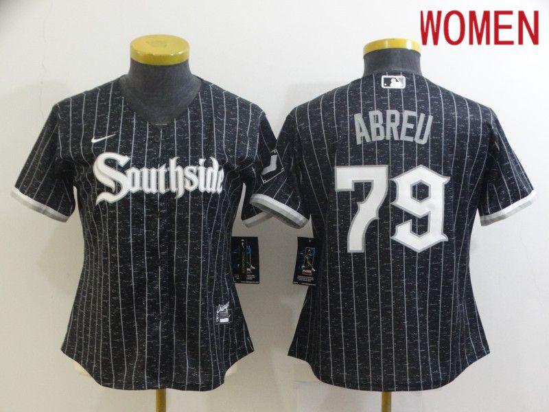 Women Chicago White Sox 79 Abreu City Edition Black Game Nike 2021 MLB Jersey