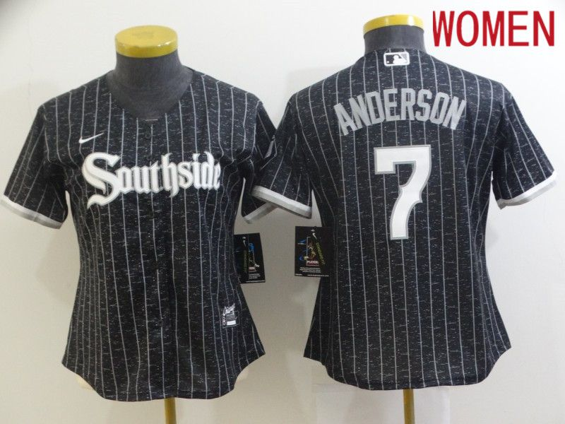 Women Chicago White Sox 7 Anderson City Edition Black Game Nike 2021 MLB Jersey