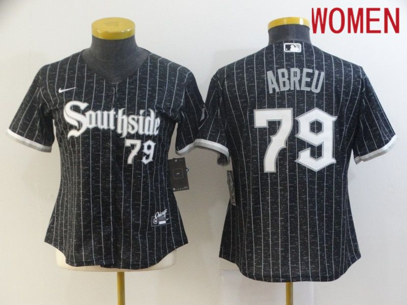 Women Chicago White Sox 79 Abreu City Edition Black Game Nike 2021 MLB Jerseys