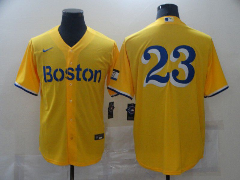 Men Boston Red Sox 23 No name Yellow Game 2021 Nike MLB Jerseys