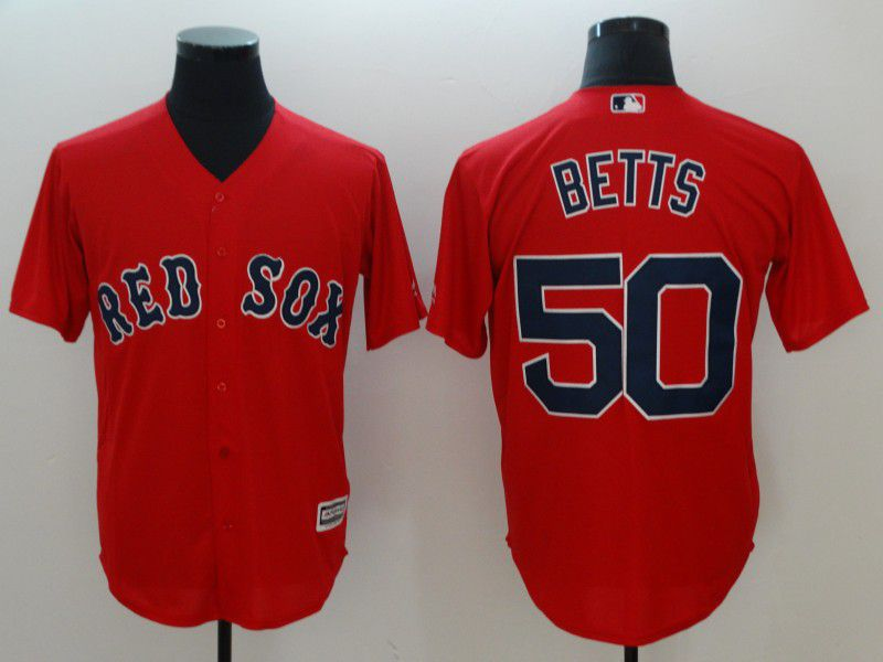 Men Boston Red Sox 50 Betts Red Game 2021 MLB Jersey