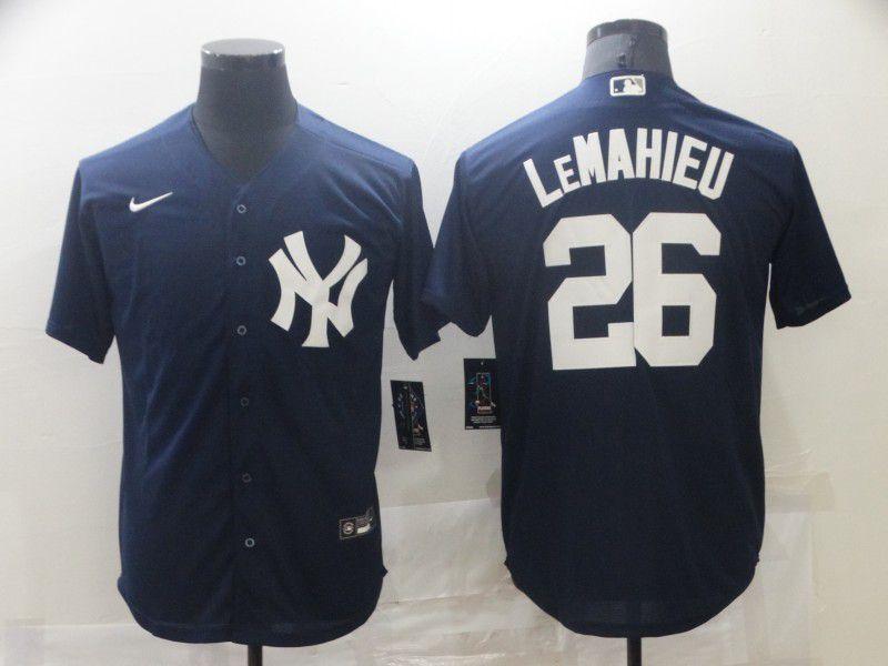 Men New York Yankees 26 Lemahieu Blue Game Nike 2021 MLB Jersey