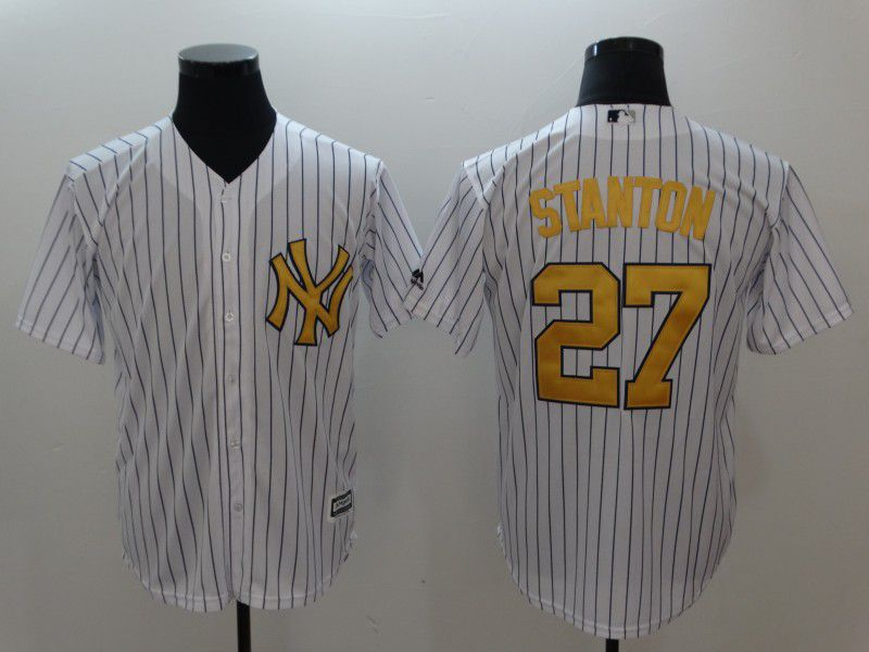 Men New York Yankees 27 Stanton White yellow Game 2021 MLB Jersey