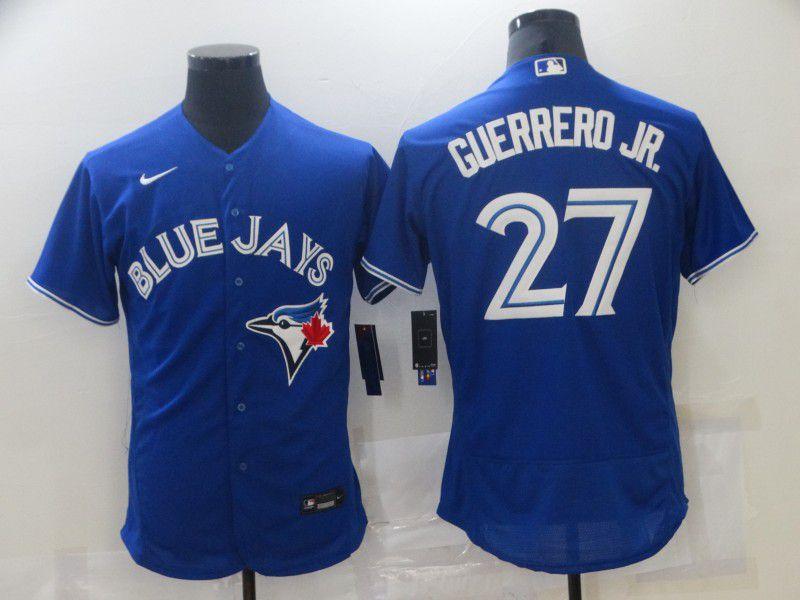 Men Toronto Blue Jays 27 Guerrero jr Blue Elite Nike 2021 MLB Jerseys