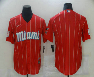 Men's Miami Marlins Blank Red 2021 City Connect Stitched MLB Cool Base Nike Jersey
