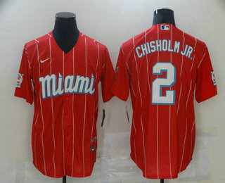 Men's Miami Marlins #2 Jazz Chisholm Jr. Red 2021 City Connect Stitched MLB Cool Base Nike Jersey