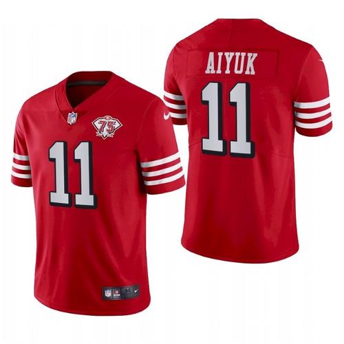 Men San Francisco 49ers #11 Brandon Aiyuk 75th Anniversary Red Throwback Jersey