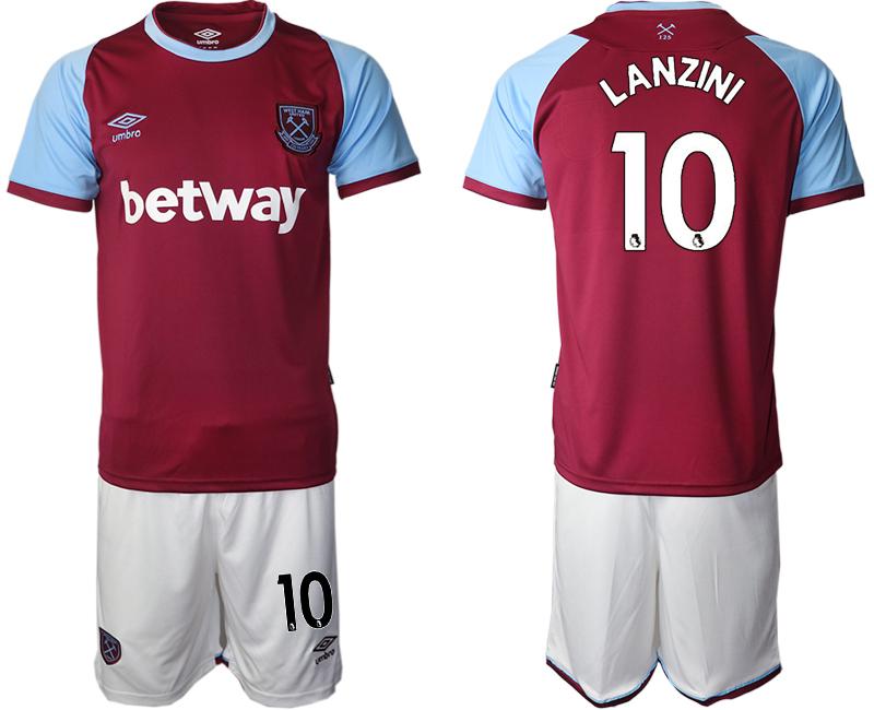 Men 2020-2021 club West Ham United home 10 red Soccer Jerseys