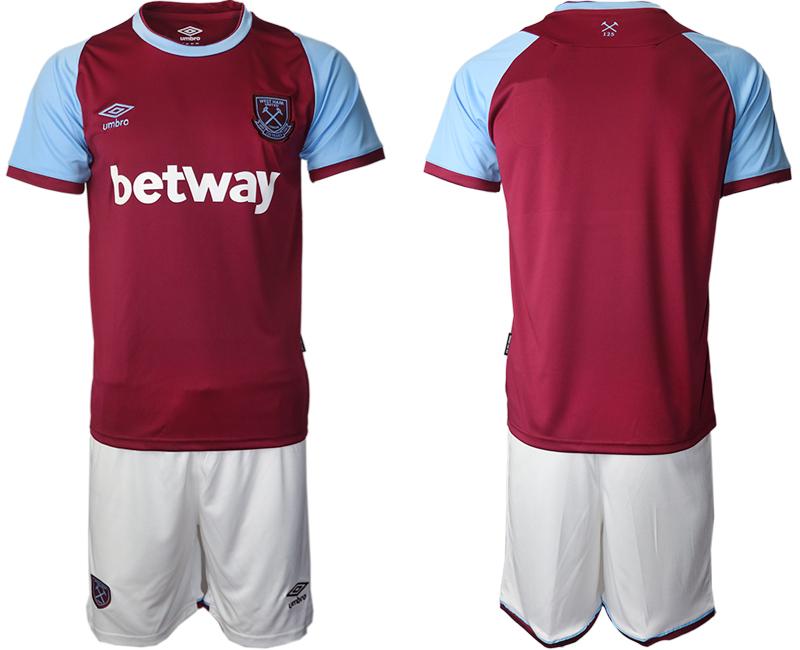 Men 2020-2021 club West Ham United home blank red Soccer Jerseys