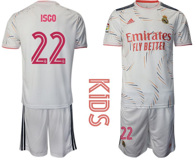 Youth 2021-2022 Club Real Madrid home white 22 Adidas Soccer Jersey