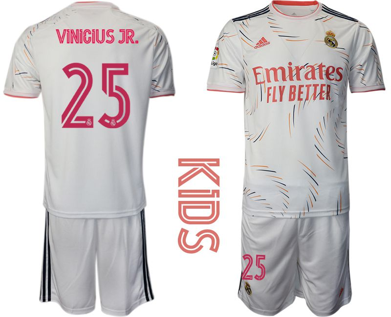 Youth 2021-2022 Club Real Madrid home white 25 Adidas Soccer Jersey