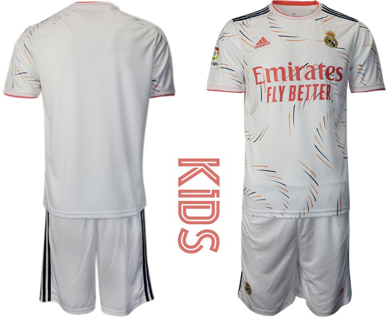 Youth 2021-2022 Club Real Madrid home white blank Adidas Soccer Jersey