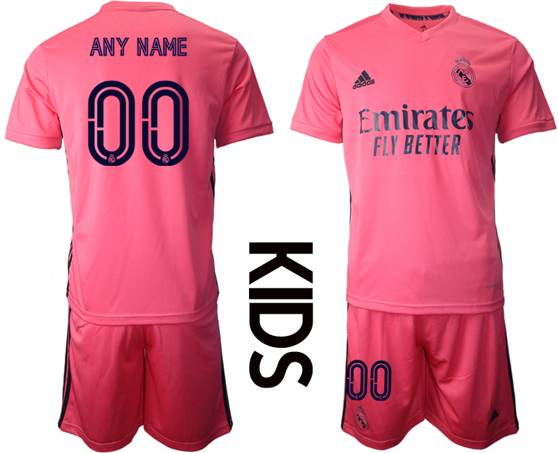 Youth 2020-2021 club Real Madrid away customized pink Soccer Jerseys