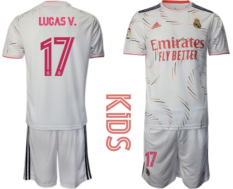 Youth 2021-2022 Club Real Madrid home white 17 Adidas Soccer Jersey
