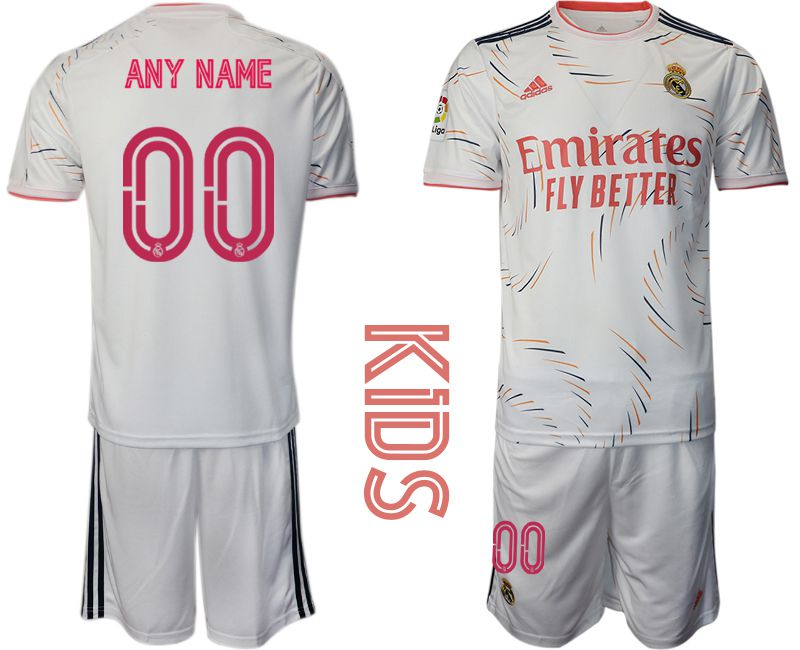 Youth 2021-2022 Club Real Madrid home white customized Adidas Soccer Jersey