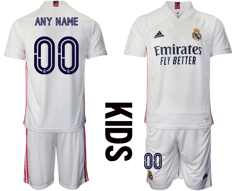Youth 2020-2021 club Real Madrid home customized white Soccer Jerseys