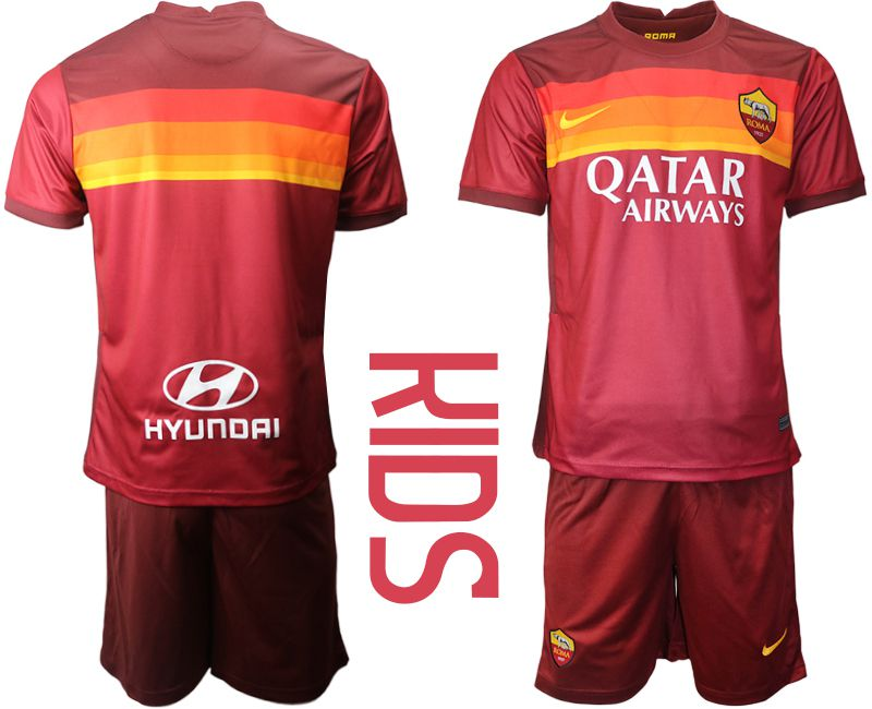 Youth 2020-2021 club AS Roma home red Soccer Jerseys