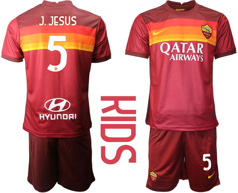 Youth 2020-2021 club AS Roma home 5 red Soccer Jerseys