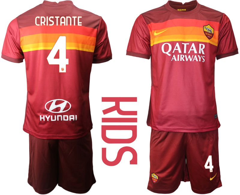 Youth 2020-2021 club AS Roma home 4 red Soccer Jerseys