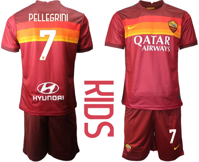 Youth 2020-2021 club AS Roma home 7 red Soccer Jerseys
