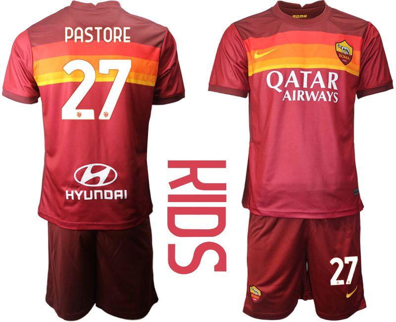 Youth 2020-2021 club AS Roma home 27 red Soccer Jerseys