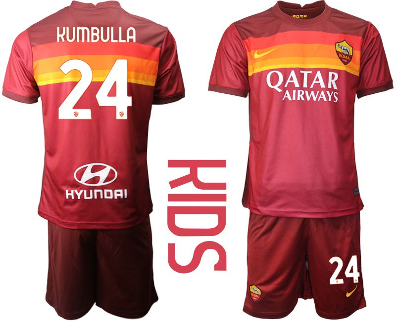 Youth 2020-2021 club AS Roma home 24 red Soccer Jerseys