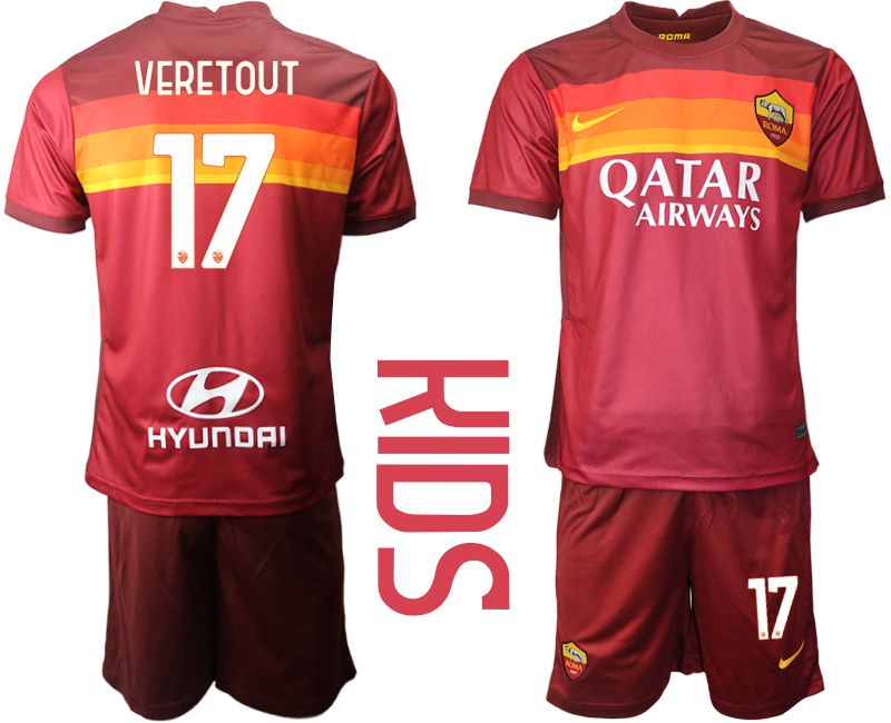 Youth 2020-2021 club AS Roma home 17 red Soccer Jerseys