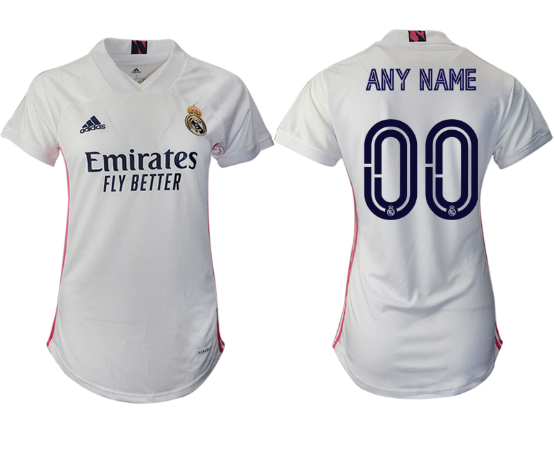 Women 2020-2021 Real Madrid home aaa version customized white Soccer Jerseys