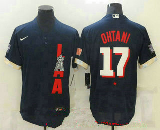 men's los angeles angels #17 shohei ohtani navy blue 2021 mlb all star stitched flex base nike jersey