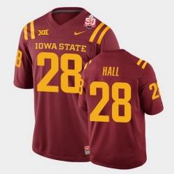 Men Iowa State Cyclones #28 Breece Hall 2021 Fiesta Bowl Cardinal College Football Jersey