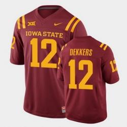 Men Iowa State Cyclones #12 Hunter Dekkers College Football Cardinal Replica Jersey