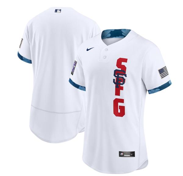 Men's San Francisco Giants Blank 2021 White All-Star Flex Base Stitched MLB Jersey