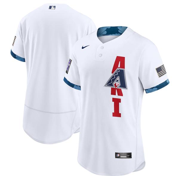 Men's Arizona Diamondbacks Blank 2021 White All-Star Flex Base Stitched MLB Jersey