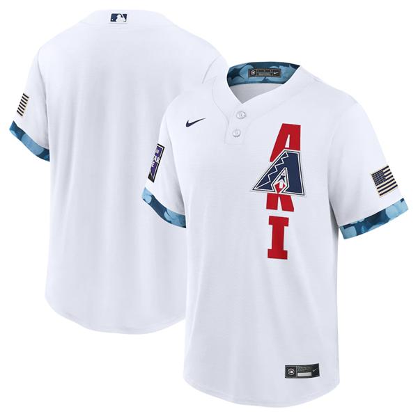 Men's Arizona Diamondbacks Blank 2021 White All-Star Cool Base Stitched MLB Jersey