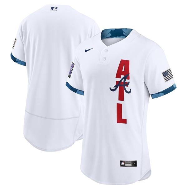 Men's Atlanta Braves Blank 2021 White All-Star Flex Base Stitched MLB Jersey