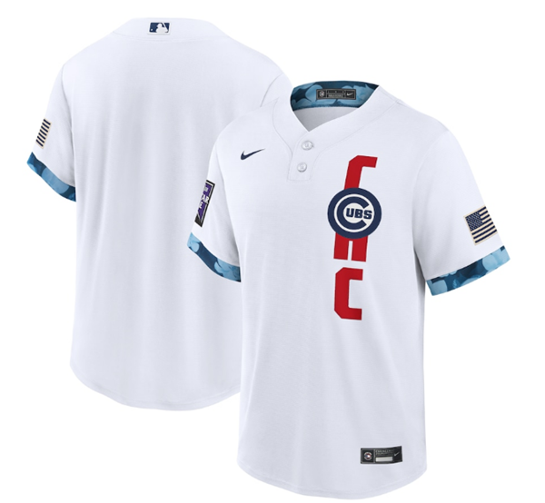 Men's Chicago Cubs Blank 2021 White All-Star Cool Base Stitched MLB Jersey