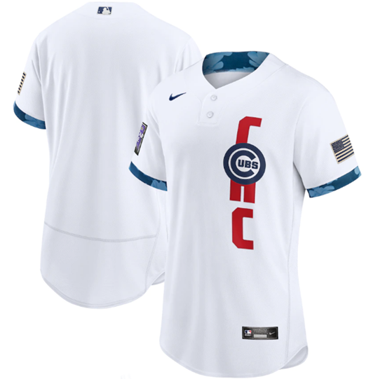 Men's Chicago Cubs Blank 2021 White All-Star Flex Base Stitched MLB Jersey