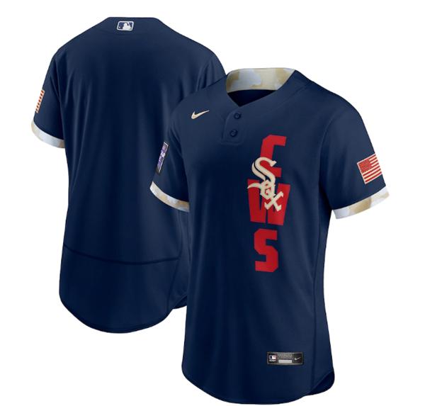 Men's Chicago White sox Blank 2021 Navy All-Star Flex Base Stitched MLB Jersey