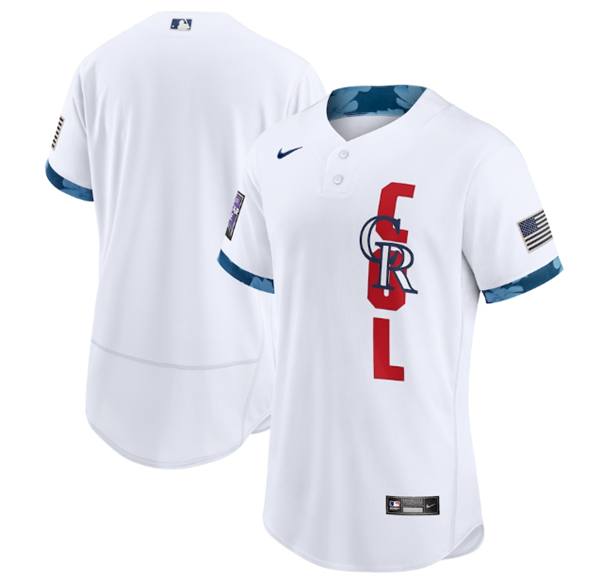 Men's Colorado Rockies Blank 2021 White All-Star Flex Base Stitched MLB Jersey