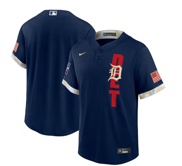 Men's Detroit Tigers Blank 2021 Navy All-Star Cool Base Stitched MLB Jersey