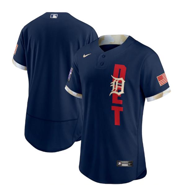 Men's Detroit Tigers Blank 2021 Navy All-Star Flex Base Stitched MLB Jersey